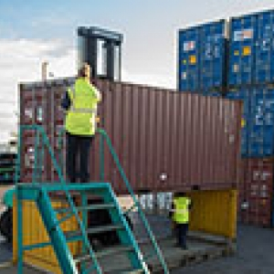 inspecting containers at Port of Auckland