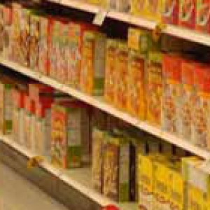 cereal boxes in supermarket aisle